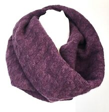 Women's Ultimate Cashmere Snood, Plum Cable Knit Plum Scarf