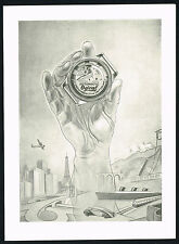 1940's Vintage Ogival Watch Co. Mid Century Modern Modernist Hand Art Print AD
