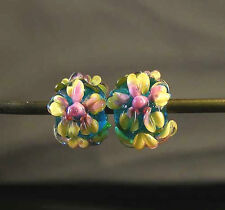 LGL Handmade Lampwork Beads YELLOW FLOWER Pair Nb5646- Sra - Loose - Earrings