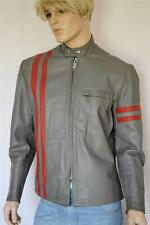 Vtg 1970's SEARS ReTrO Striped Gray & Red Leather CaFe RaCeR MoToRcYcLe Jacket L