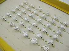 Wholesale Lots 10pcs Silver Flower Silver Plated Rings FREE J18
