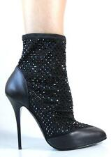 new $1900 Giuseppe ZANOTTI black CRYSTALS stretch ANKLE BOOTS shoes 39 9 AMAZING