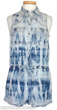 NEW Guess Womens Romper AMY Denim Shorts Outfit Tie Dye Marble Blue Sz S NWT $98
