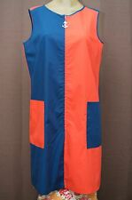 Vintage 60s 70s 80s 90s Womens Dress Long Anchor Zip Pull Mod Colorblock L EXC