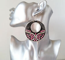 Gorgeous large black & hot pink big round disc - hoop drop earrings * NEW *
