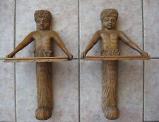 PAIR of ANTIQUE CARVED OAK WALL HANGERS -  PUTTI / CHERUB HOLDING SHELF