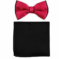 New Men's Two Layer Tones Pre-tied Bow Tie and Hankie Set hot pink black formal