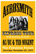 Music Poster Reprint Aerosmith with AC/DC and Ted Nugent 1977