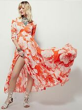 ANTHROPOLOGIE FREE PEOPLE~FIRST KISS TANGERINE DREAM FLORAL MAXI DRESS~S~NWT