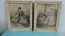 Victorian lady water color Lervy Lmp Paris vintage  framed art vintage