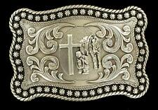 Nocona Western Mens Belt Buckle Praying Cowboy Horse Rope Edge Silver 3759059