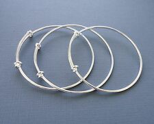 Set 3pcs Expandable wire silver bangles making charm bracelets plane Adjustable
