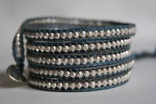 NEW CHAN LUU ATLANTIC COLLECTION WITH SILVER NUGGETS COTTON WRAP BRACELET