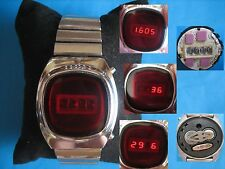 USSR 1980 Elektronika 1 Pulsar RED LED watch+ ORIGINAL BRACELET Elektronika USSR