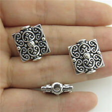 20070 12X Square Totem Filigree Heart Spacer Beads Pendant Antique Silver Alloy