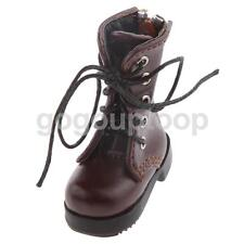 Coffee PU Leather Lace Up Martin Boots Back Zippered Shoes for 1/6 BJD Dolls