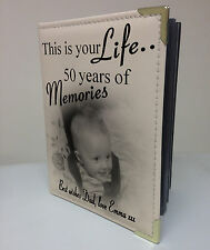 Personalised photo album, memory book, this is your life, 50th birthday gift