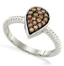 Modern! 10K White Gold Chocolate Brown Diamond Pear Shaped Cluster Ring .20ct
