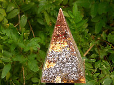 6 Inch Positive Orgone Energy Harmonizer Pyramid  EMF Protection Gold Bronze