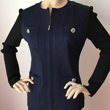 NEW ST JOHN KNIT SZ 2 DENIM JACKET NAVY & BLACK COTTON SPANDEX