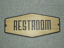 Retro Rustic Type Wood Restroom Sign