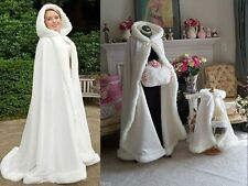 White/Ivory Faux Fur Satin Bridal Hooded Cloak Outdoor Wedding Wrap Winter Shaw