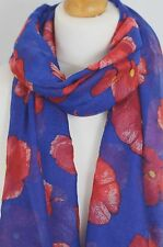 Poppy Royal Blue Print Ladies Fashion Maxi Scarf Wrap Sarong