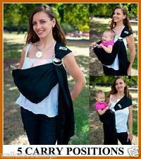 Walkabout Ring Sling Baby Carrier Pouch Wrap Newborn to Toddler Black Brand New
