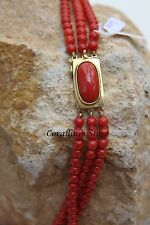 Natural Red Coral necklace three strands of beads 5.5mm and gold 18k 314.5carats