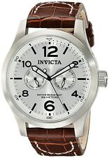 Men's Watches Dress Silver Dial Brown Leather Watch Invicta Suit Tie Husband NEW