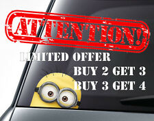 MINION car decal/ sticker, Van/Bumper/Window Vinyl Decal Sticker DUB