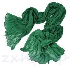 Hot Women 2017 Long Big Crinkle Voile Soft Scarf Wrap Shawl Stole Pure Emerald