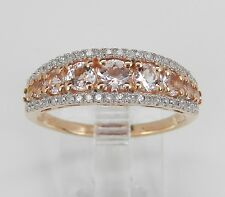 Morganite and Diamond Anniversary Ring Wedding Band Rose Pink Gold Size 8