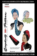 Pattern TURBAN HAT & Gloves 40's Millinery Fabric Sewing Simplicity 1318 TICHEL