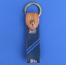 NWT Polo Ralph Lauren Navy Royal Silk & Leather Split O-Ring Key Chain Fob