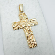 NEW Solid 14K Yellow Gold Mens Nugget Cross Crucifix Pendant Charm, 6.6 grams