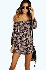 BOOHOO ASOS PAULA PAISLEY BARDOT / OFF SHOULDER PLAYSUIT 16 BNWT