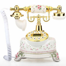 Classical Ceramic Desk Telephone Vintage Button Dial Retro Antique Phone  #6