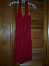 NWT ANDRETTA DONATELLO Evening Gown BEADED Halter Style Size Medium RED SILK