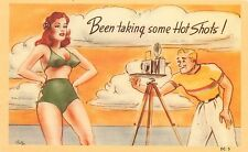 Vintage Linen Postcard; Photographer Camera Sexy Redhead Taking some Hot Shots