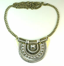 LADIES RUSTIC FUTURISTIC LOOK SILVER GOLD NECKLACE CHUNKY UNIQUE  NEW (CL10)