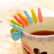 5x Schnecke aus Silikon-Teebeutel-Halter-Schalen-Becher-Süßigkeit Set Posten NEU