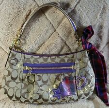 AUTHENTIC RARE COACH POPPY TARTAN APPLIQUE SIGNATURE GROOVY HOBO