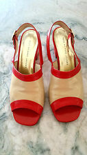 MARC JACOBS red/tan slingbacks heels Shoes - RED sole  Size 39 - 9