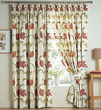 Kinsale Floral Cotton Lined Tape Top Pleated Woven Effect Curtains + Tie Backs