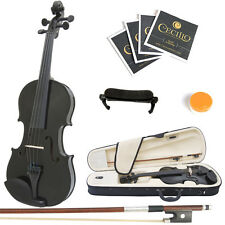 Mendini Size 3/4 MV-Black Solidwood Violin +Shoulder Rest+Extra Strings+Case