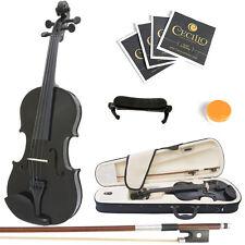 Mendini Size 3/4 MV-Black Solidwood Violin +Shoulder Rest+Extra Strings+Case