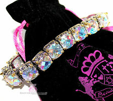 Womens Design Aurora Borealis Twotone Throne Room Chunky Tennis CZ Bracelet 7.5""
