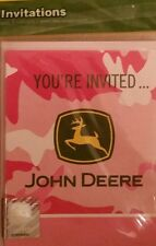 John Deere Pink Birthday (8) Eight Party Invitations with Envelopes