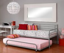 Twin Mattress Metal White Frame Bunkbeds Dorm Daybed Trundle Spare Bed Organize